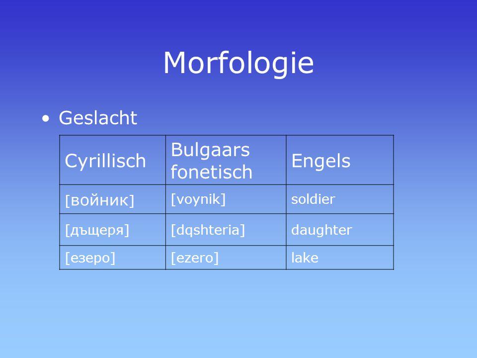 Morfologie Geslacht Cyrillisch Bulgaars fonetisch Engels [войник]